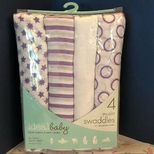 NIB 4 pack muslin swaddles by Ideal Baby